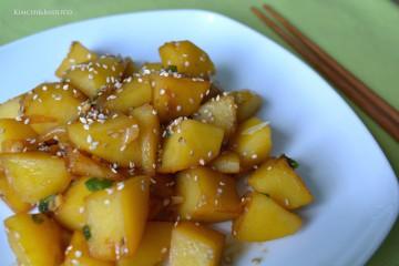 braised potatoes closeup