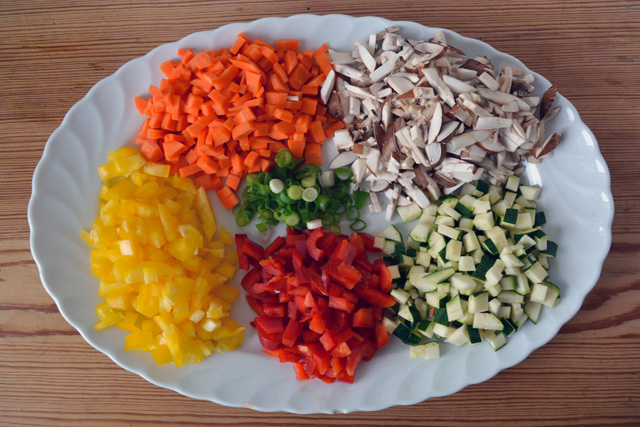 bokkeumbap sliced vegetables