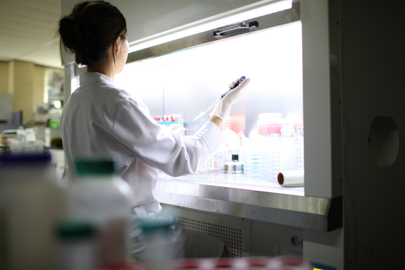 scientist in fermentation lab