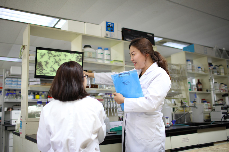 researchers in the fermentation lab